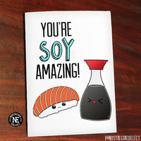 Funny Pun - Youre So Amazing - Soy Amazing - Soy Sauce & Sushi Rice - Kawaii Sweet Cute Greeting Card - Friendship Card 4.5 X 6.25 Inches