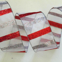 "white Christmas wired ribbon wired Christmas ribbon decorations sparkle silver red white Christmas Ribbon wreaths make garland 2.5"" 5yd"