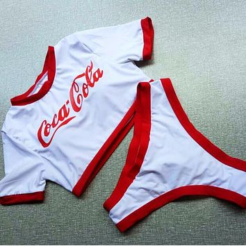 Coca-Cola Newest Trending Women Stylish Letter Print Red Edge Short Sleeve High Waist Two Piece Bikini Swimsuit Bathing White I13587-1