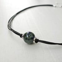 Black leather choker marbled green blue ceramic bead necklace minimalist women