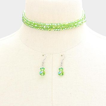 """45"""" faceted 4mm bead necklace 1.50"""" earrings"""
