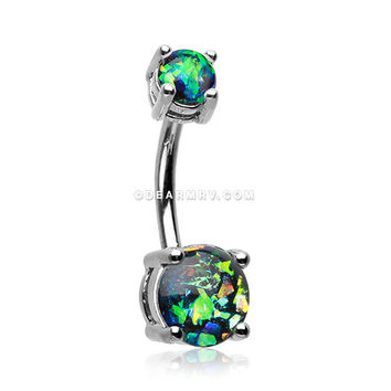 Opal Sparkle Prong Set Belly Button Ring (Black)