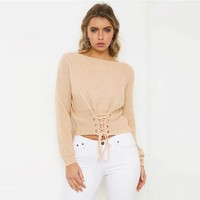 V-neck Cross Strap Hollow Out Sweater [14118649876]