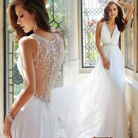Wedding Dresses Beach 2016 Vestido De Noiva A-line V-neck Floor Length Chiffon Appliques Wedding Gown Bridal Dresses Bridal Gown