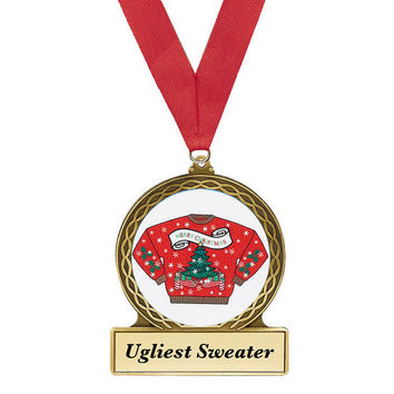 Ugly Christmas Sweater, Award, Christmas Sweater Award, Red Sweater, Ugly Sweater Party, Penguin Metal Award, Christmas Award