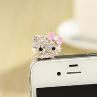 MoMo Store Crystal Rhinestones Hello Kitty Earphone Jack/Dust Plug for Iphone 4, 4s, Samsung / HTC / All Device with 3.5mm Jack pink (US seller)