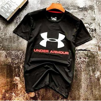 Under Armour New fashion letter print couple top t-shirt Black