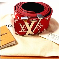 LV Louis Vuitton Woman Fashion Smooth Buckle Belt Leather Belt