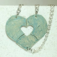 Friendship Necklaces Set of 3 aromatherapy pendants Leaf stamped pendants Dark Seafoam