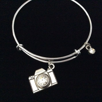 Silver Camera Charm Bracelet Expandable Wire Bangle Photography Trendy Photo Wedding Gift