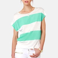 Line of the Times Mint and White Striped Top