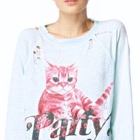 Wildfox Couture Party Cat Destroyed Sweater Mint Jelly