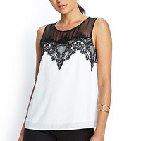FOREVER 21 Eyelash Lace Panel Top White/Black Small