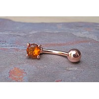 Topaz Crystal Rose Gold Belly Button Ring