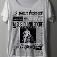 Harry Potter Newspaper Shirt Daily Prophet Albus Dumbledore Shirts TShirt T Shirt Tee Shirts - Size M L
