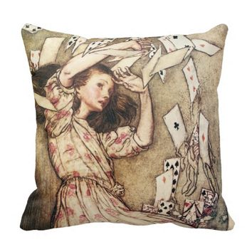 Alice in Wonderland Flying Cards Pillow