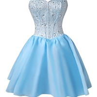 Women's 2015 Sexy A-line Sweetheart-neck Crystal Short Cocktail Prom Dresses Organza-Blue