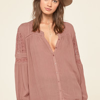 AMUSE SOCIETY - Crawford Long Sleeve Woven Top | Tobacco