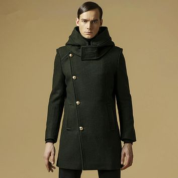 2017 New Winter Thicken Warm Wool Men's Coat With Hoodes Long Designer Office Business Jacket Army Green Khaki, Blue 8801