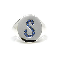 White Gold Pave Initial Signet Ring with Blue Sapphires | Moda Operandi
