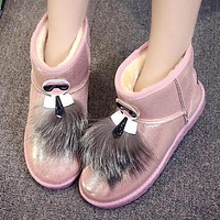 FENDI Winter Popular Women Wool Snow Boots Pink