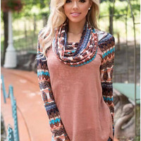 Graphic Print Cowl Neck Long Sleeve Top