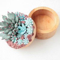 Blue Succulent Ring Box Bearer Case Wooden Round Decorated Engagement Ring Holder Proposal Ring Case Valentines Gift Home Decor Wedding