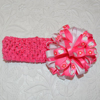 Hello Kitty Hair Bow, Infant Headband, Toddler Headband, Hello Kitty Hair Clip