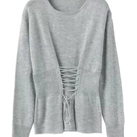 Gray Lace Up Detail Long Sleeve Knit Jumper
