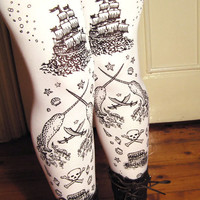 Nautical Tattoos Black and White Pirate tights by TejaJamilla