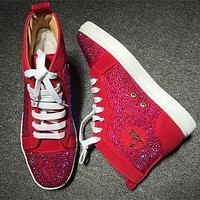 Christian Louboutin CL Rhinestone Style #1951 Sneakers Fashion Shoes Online