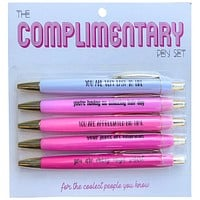 Complimentary Pen Set in Ombré Pink | Black Ink | Set of 5 | You Are Very Easy to Like, You Are Crazy Mega Smart...