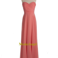 Coral Prom Dresses, Coral Pink Prom Dresses, Long Strapless Sleeveless Cheap Prom Dresses Under 100
