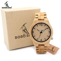 Full Bamboo Wooden Watch for Men Top Luxury Quartz Wooden Band Luminous Needle Wrist Watches in Gift Box