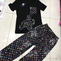 LV Women Letter Print Short Sleeve Top Pants Two-Piece