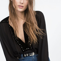 VELVET COMBINED BLOUSE