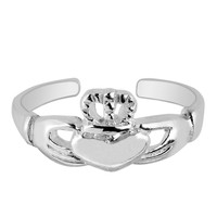 Sterling Silver Rhodium Plated Claddagh Cuff Style Adjustable Toe Ring