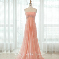 Bright color strapless beading prom dress, Chiffon long prom dress, Bridesmaid Dress Prom Dress,elegant dress,Evening Dress,wedding dress