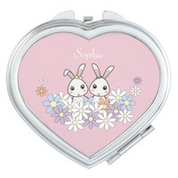 Cute Bunnies Personalized Kawaii Heart-Shaped Pink Compact Pocket Mirror: Birthday or Easter Gift Idea for Girls