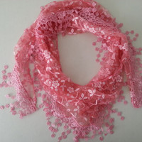 Brand New Blush Pink Boho Floral Lace Scarf