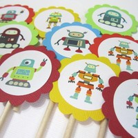 Robot Cupcake Toppers for Boys Birthday or Baby Shower Party