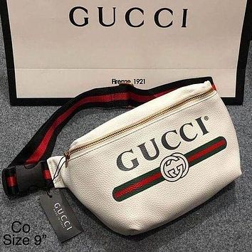 Gucci male and female letters printed Waist Bag zipper straddle bag