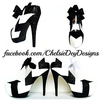 Chevron Glitter Platform Pumps, Black White Prom High Heels