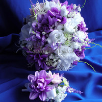 FLOWER BOUQUET , Purple and White bridal bouquet, Wedding bouquet  set