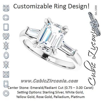 Cubic Zirconia Engagement Ring- The Betyhelena (Customizable 3-stone Emerald Cut Design with Tapered Baguettes)
