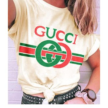 Gucci Tee Shirt Top Double G Print Red Green Letters Women Men Couples Sweater Beige yellow