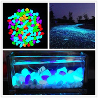 100 Piece Newest Home Decorative Pebbles Glow in the Dark Stones Home Garden Walkway Aquarium Fish Tank = 1932473540