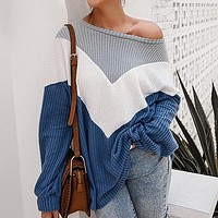 Fashion Color Block Long Sleeve T-Shirt Women Loose Knitted Tops Female Casual Patchwork Shirt Plus Size Ladies