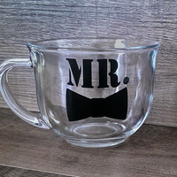 Mr. with a Bow Tie Mug. Groom. Husband. Fiance. Groomsmen. Father. Dad. Grandfather. Grandpop. Engagement Gift. Father's Day .Gift for him.