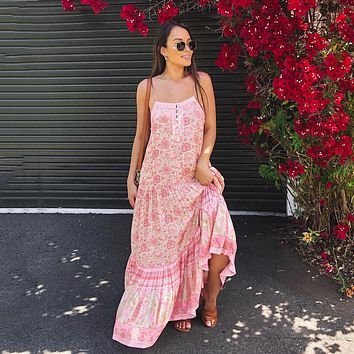 Poinciana Strappy Midi Dress button Front Sleeveless Dresses Gypsy Floral Print Dress Casual Beach Women Dresses